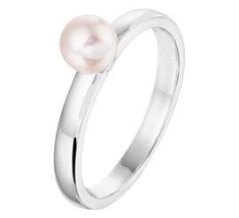 Zilveren Ring voor Kinderen met Zoetwaterparel en Hartjes Decoraties