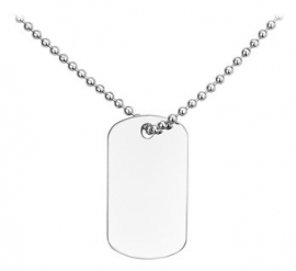 Basic Dog Tag Collier met Dog Tag Hanger - Graveer Hanger | Tekst