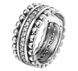 Zilveren Ring met Bolletjes Rand en Zirkonia's
