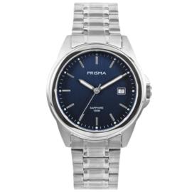Zilverkleurig Heren Horloge met Blauwe Wijzerplaat