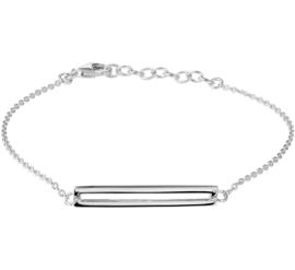Zilveren Schakelarmband met Opengewerkte Rechthoek
