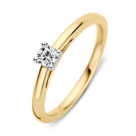 Excellent Jewelry Slanke Geelgouden Ring met 0,19 crt. Briljant
