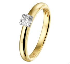 Stevige Bicolor Gouden Ring met Transparante Diamant