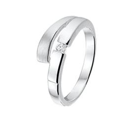 Glanzende Zilveren Ring met Zirkonia en Matte Strook