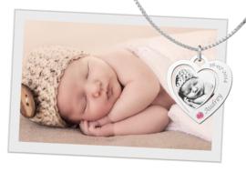 Hartvormige Fotogravure Hanger van Zilver met Geboortesteen van Names4ever