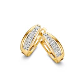 Excellent Jewelry Geelgouden Creolen met Dubbele Zirkonia Rij