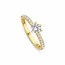 Egale Gouden Ring van MY iMenso Gold met Zirkonia Kopstuk