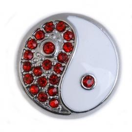 Rood witte Yin Yang munt-drukker BEC0028-07
