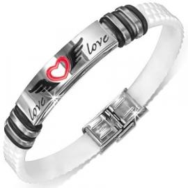 Zwart/ rood met zilverkleurige armband