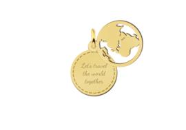 Names4ever Dubbele Ronde Gouden Graveerhanger met Wereldbol GMNH011