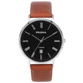 Titanium Heren Horloge met Bruin Lederen Horlogeband van Prisma