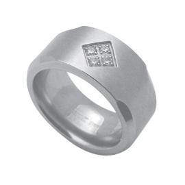 Robuuste Ring met Zirkonia's van C MY STEEL - Graveer Ring