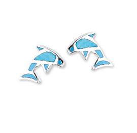 Blauwe Parelmoer Dolfijn Oorknoppen van Gepolijst Zilver