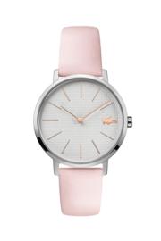 Lacoste Zilverkleurig Moon Dames Horloge met Roze Lederen Horlogeband