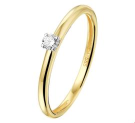 Slanke Bicolor Gouden Ring met Transparante Diamant