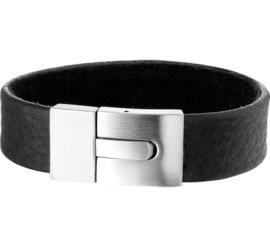 Zwart Leren Heren Armband met Edelstalen Sluiting - Graveer sieraad