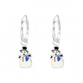 Zilveren Sneeuwpop Creolen