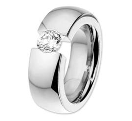 Stalen Dames Ring met Zirkonia | Graveer Ring