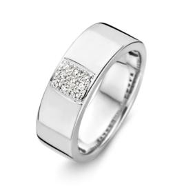 Excellent Jewelry Brede Witgouden Ring met Diamanten Vlak