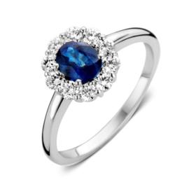 Excellent Jewelry Witgouden Ring met 0,48 crt. Saffier Kopstuk
