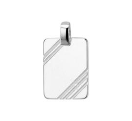 Rechthoekige Zilveren Graveer-hanger met Gediamanteerde Lijnen