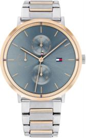 Tommy Hilfiger Roségoudkleurig Dames Horloge met Blauwe Wijzerplaat
