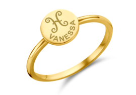 Gouden Ring Disc met Sterrenbeeld en Naamgravure | Names4ever