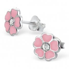 Roze bloem oorbellen voor meisjes