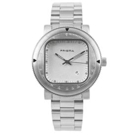 Zilverkleurig Rond Prisma Heren Horloge met Vierkante Wijzerplaat