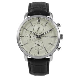 Prisma Horloge met Zilverkleurige Elementen P.1581 Heren Edelstaal Multi-functioneel