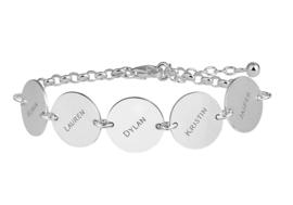 Names4ever Zilveren Armband met Ronde Graveerplaatjes ZNA67