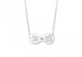 Names4ever Zilveren Initialen Infinity Hanger + Zirkonia