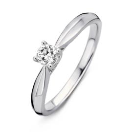 Excellent Jewelry Witgouden Ring met Vernauwing en 0,24 crt. Briljant