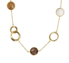 Geelgouden Collier met Decoraties en Edelstenen