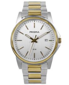 Elegante Heren Horloge van Zilverkleurig Edelstaal met Goudkleurige Rand