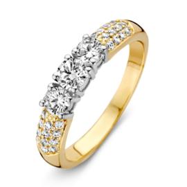Excellent Jewelry Bicolor Dames Ring met Meerdere Zirkonia's