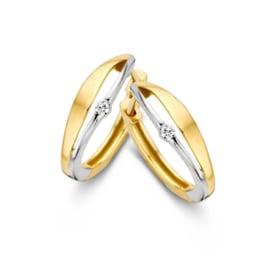Excellent Jewelry Bicolor Creolen met 0,03 crt. Briljant
