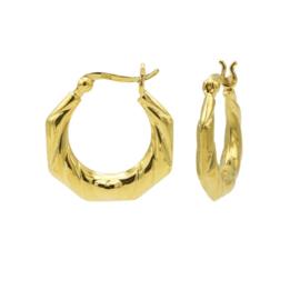 Goudkleurige Zeshoekige Oorringen   Karma Jewelry