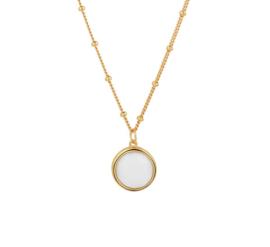 Zilveren Collier met Goudkleurige Coating en Witte Agaat Edelsteen