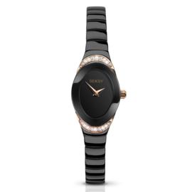 Seksy Sekonda Zwart met Roségoudkleurig Horloge voor Dames