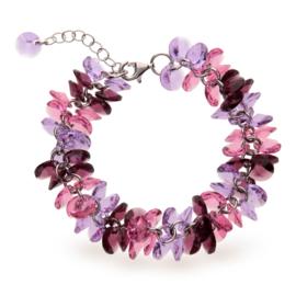 Frou Frou Roze met Paarse Swarovski Armband van Spark Jewelry