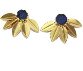Goudkleurige Oorknoppen met Blauwe Agaat Druzy van Sujasa