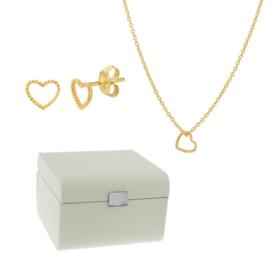 Sieradenbox + Hart Oorknoppen met Collier Gift Set