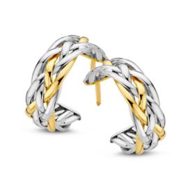 Excellent Jewelry Brede Gevlochten Bicolor Oorstekers