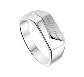Slanke Zilveren Heren Ring met Gepolijst en Mat Kopstuk