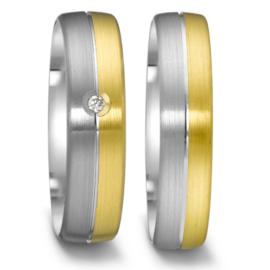 Matte Zilveren met 9 Karaat Trouwringen Set met Diamant