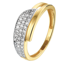 Geelgouden Dames Ring met Witgoudkleurig Zirkonia Vlak