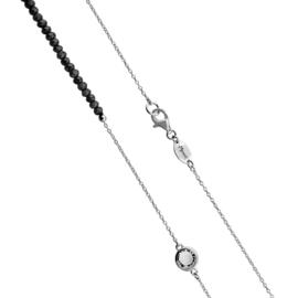 Zilverkleurige Schakel Ketting met Zwarte Steentjes en Zirkonia's