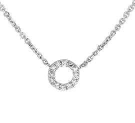 Slank Collier van Witgoud met Opengewerkte Diamant 0.08 ct Cirkel