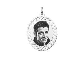 Ovale Zilveren Fotogravure Hanger met Golvende Lijntjes van Names4ever